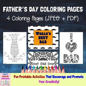 Father's Day Coloring Pages - Set of 4