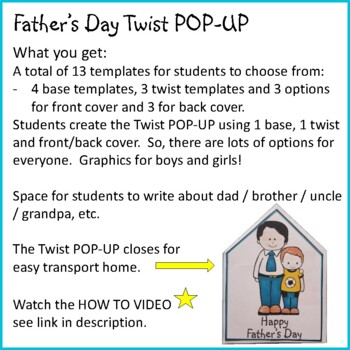 Father's Day Crafts - Twist POP-UP Craftivity