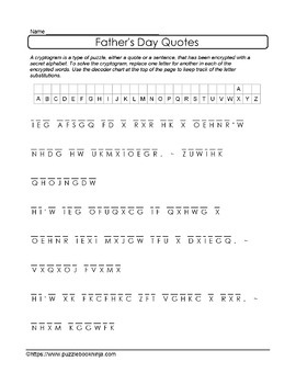Father's Day Cryptic Puzzle Collection-36 Unique Cryptograms&Cryptolist Puzzles