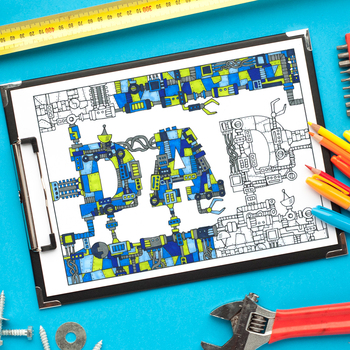 """Father's Day """"Dad"""" Mechanical Coloring Page - 8.5 x 11"""" PDF instant download"""