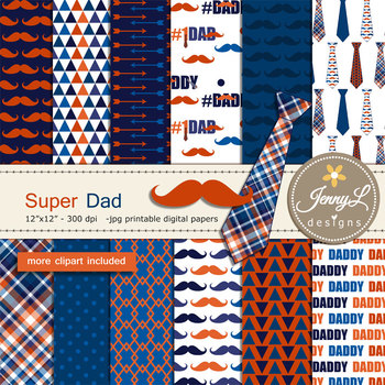Father's Day Digital papers and clipart SET