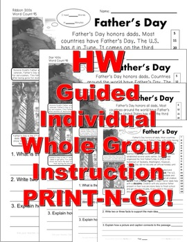 Father's Day Fun Facts Close Reading Passages Main Idea Fluency Print-n-Go!