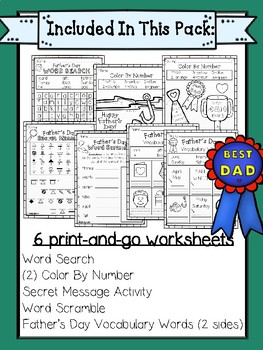 Father's Day Fun Pack for 1st Grade