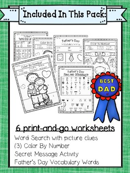 Father's Day Fun Pack for Kindergarten