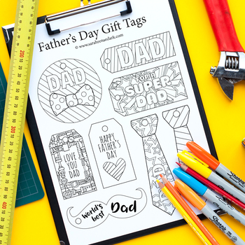Father's Day Gift Tags – 12 DIY printable gift tags to color and make for Dad