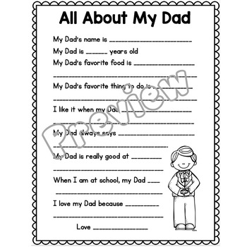 Father's Day Gifts for Dad (All About My Dad Writing Prompt)