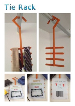 Father's Day popsicle stick tie rack craft activity