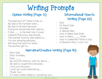 Father's Day Napkin Book Writing Prompts