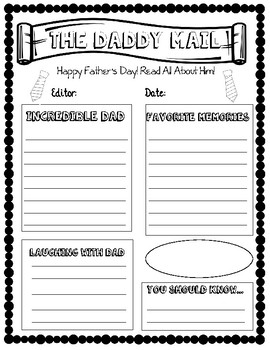 Father's Day Newspaper Writing Activity - NO PREP