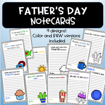 Father's Day Notecards ~ Great for upper elementary and middle school!