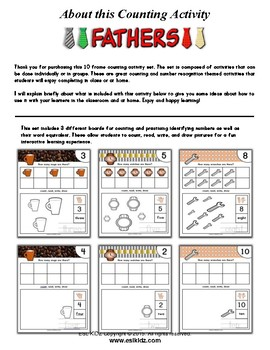 Father's Day Number / Counting Activity Set