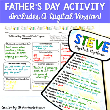 Father's Day Poem {for Middle School Students} Includes DIGITAL VERSION!