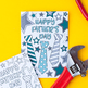 Father's Day Printable Coloring Cards (10 Pack) | 10 Father's Day cards