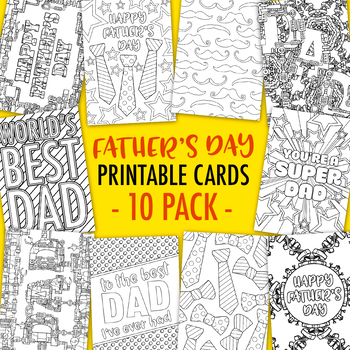 picture relating to Printable Coloring Cards named Fathers Working day Printable Coloring Playing cards (10 Pack) 10 Fathers Working day playing cards