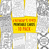 Father's Day Printable Coloring Cards (10 Pack) | 10 Fathe