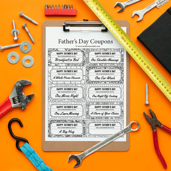 Father's Day Printable Coupons – 10 Printable Coupons to color and give to Dad