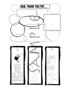 Father's Day Printables -- Bookmarks, Coloring Pages, and fill-in pages.