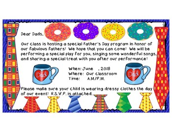 Father's Day Program / Donuts for Dad:  Poem, Songs, Skit, Card, & Gift