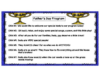 Father S Day Program Donuts For Dad Poem Songs Skit Card Gift