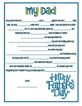 picture about Father's Day Questionnaire Printable called Fathers Working day Questionnaire