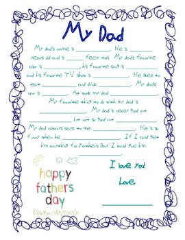 picture about Dad Questionnaire Printable named Fathers Working day Questionnaire