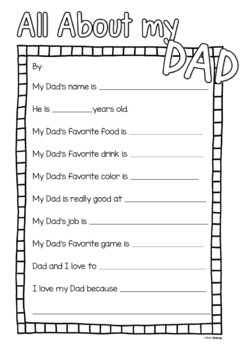 Father's Day Questionnaire and Photo Prop with American Spelling