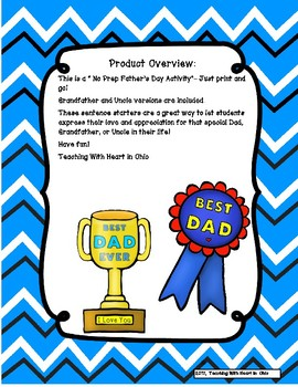 Father's Day Sentence Starter Activity