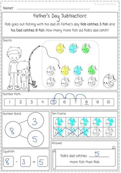 Father's Day Subtraction Word Problem Freebie for K.OA 2.0