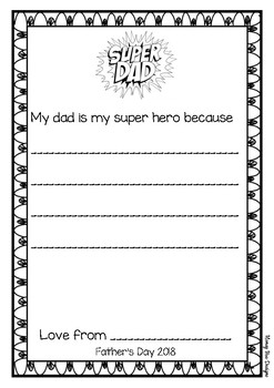 Father's Day Super hero worksheet