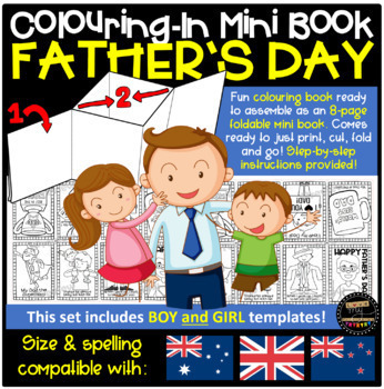 Father's Day Theme 8-Page Mini Book Template (Colouring-In Book) w. Instructions