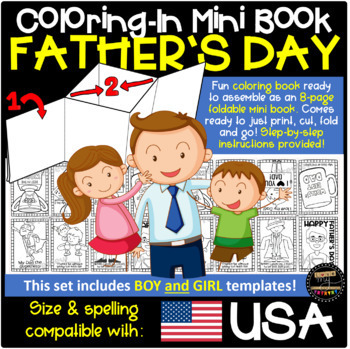 Father's Day Themed 8-Page Mini Book Template (Coloring-In Book) w. Instructions