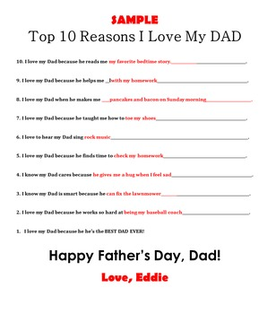 Father's Day Top 10 Reasons I Love My Dad