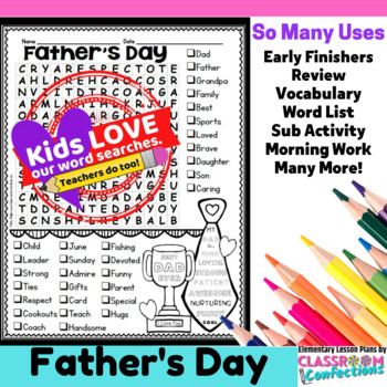 father s day word search activity by elementary lesson plans tpt