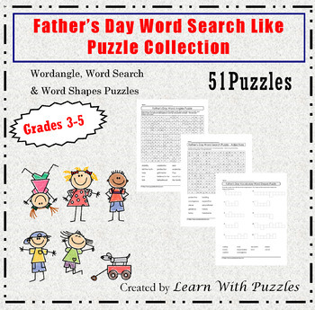 Father's Day Word Search Like Puzzles-51 Unique Puzzle Collection