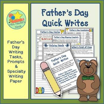 Father's Day Writing Activities - Poetry, Lists, Similes and Writing Paper