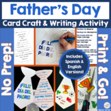Father's Day Writing Activity in Spanish and English | No-