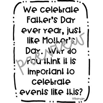 Father's Day Writing Prompts Freebie