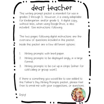 Father's Day Writing Prompts: Grades 2 - 5
