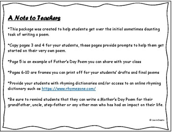 FREE Father's Day Poem Starters