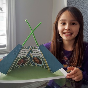 """Father's Day bell tent """"Happy Camper"""" craft activity with"""