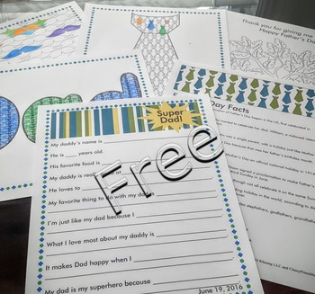 Father's Day personalized Dad's Coupons with FREE fact sheet coloring pages