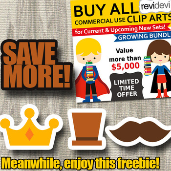 Father's day free clipart / crown, hat, mustache clip art freebie