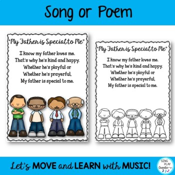 Father's or Dad's Day Original Song, and Literacy Activities: {CCSS}