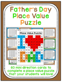 Father's Day Place Value 100 Chart Puzzle Math Center