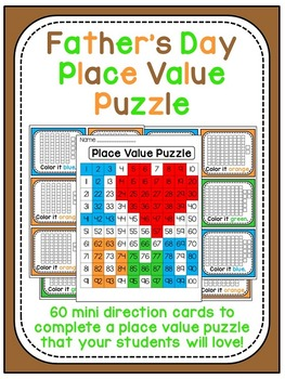 Father's Day Activities Math 100 Chart Place Value Puzzle