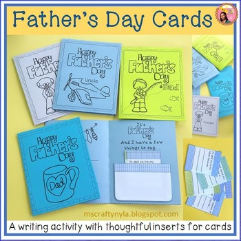 Father's Day Cards with Writing Prompts Inserted