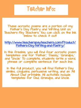 Father's Day Acrostic Poem Freebies