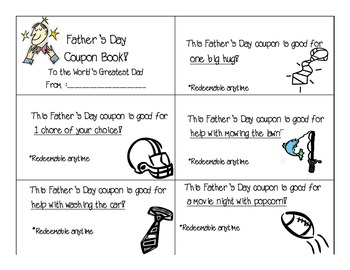 Father's Day Activities Packet - including coupon book to give as a gift!