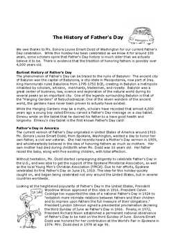 Fathers Day Activities for Middle School - Reading, Vocabulary