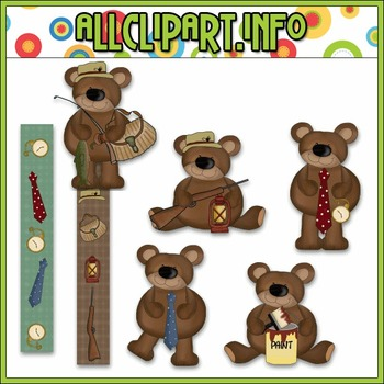 Father's Day Bears Clip Art - Cheryl Seslar Clip Art